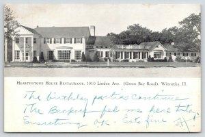 Winnetka Illinois~Hearthstone House Restaurant~Map on Back~1946 B&W Postcard