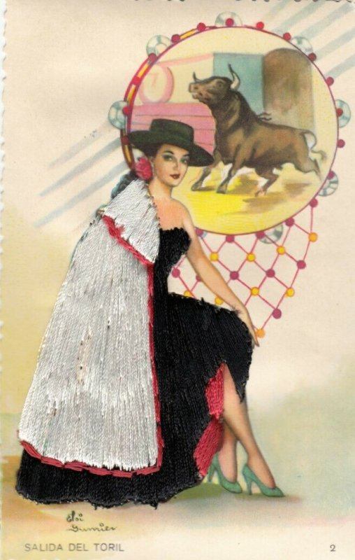 AS: SPAIN, 1950-60s; Embroidered, Salida del Torl, Female Bull Fighter