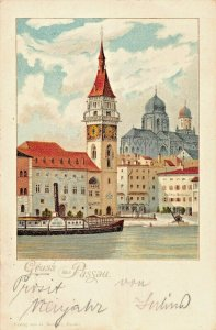 PASSAU GERMANY~STEAMER DRINA ?-G KANTHER 1897 PHOTO POSTCARD