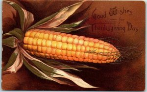 Vintage THANKSGIVING Embossed Postcard Ear of Corn Clapsaddle? Cc1910s UNUSED