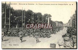 Postcard Old Army July 14, 1919 Festivals Victory Troops Champs Elysees