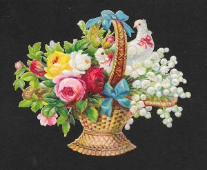 VICTORIAN TRADE CARD Die-Cut Basket of Flowers
