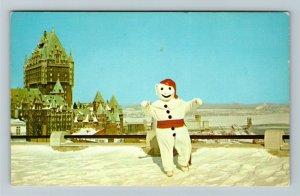 Que- Quebec, Carnaval de Quebec, Destination Spot, Snowman, Chrome Postcard