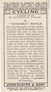 """Cigarette Cards Players CYCLING No 12 """"Invincible"""" Bicycle"""