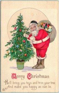 Vintage 1910s CHRISTMAS Postcard SANTA CLAUS w/ Decorated Xmas Tree STECHER 745B