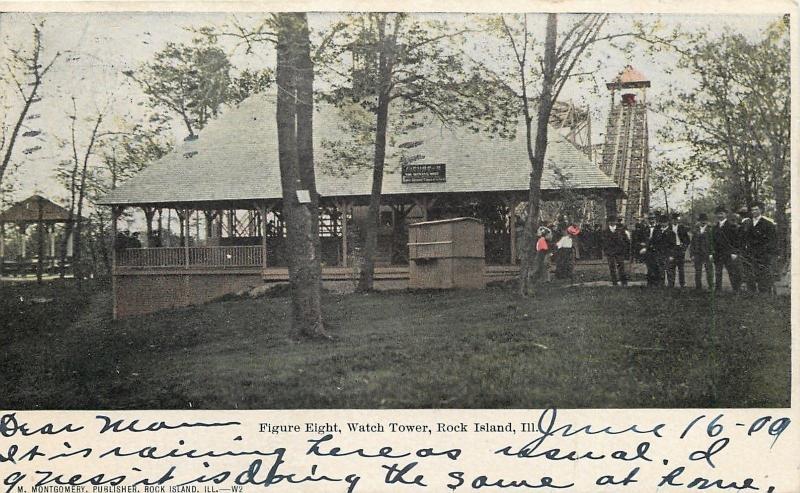 Rock Island IL Watch Tower Amusement Park~Figure Eight ~Roller Coaster c1906