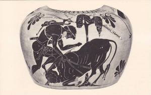 Greek Pottery, Herakles Overpowering The Cretan Bull, Greece, 10-20s