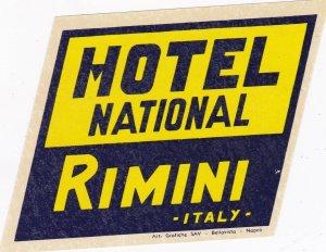 Italy Rimini Hotel National Vintage Luggage Label sk3389