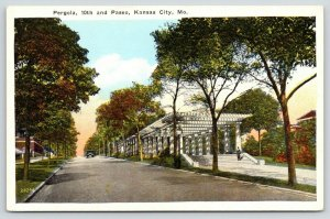 Kansas City Missouri~Man Enters Pergola @ 10th & Paseo~1920s Postcard