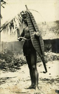 indonesia, NIAS, Native Warrior, Spear Shield Balato Sword 1920s RPPC Postcard 2