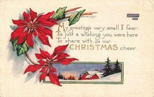 Circa 1907-15 Winter Farm Sunrise Holly Berries Christmas Poem Embossed Postcard