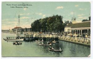 Boating Water Front Club House Lake Manawa Iowa 1911 postcard