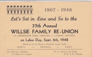 37th Annual Willsie Family Reunion , Laborday , ST. THOMAS , Ontraio , Canada...