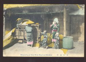 ANTIQUE VINTAGE JAPAN COLOR JAPANESE POSTCARD WINNOWING RICE BY HAND WOMEN