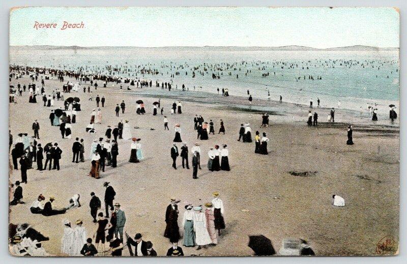 Revere Beach Massachusetts~Bathers on Crowded Beach & in Water~c1905 Postcard