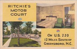 North Carolina Greensboro Ritchies Motor Court 1953
