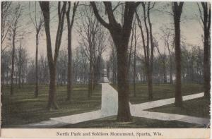 Wisconsin WI Postcard 1909 SPARTA North Park Soldiers Monument