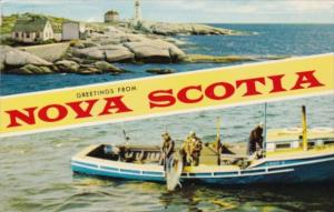 Canada Greetings From Nova Scotia Lighthouse and Fisherman 1971