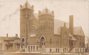 F11/ Hicksville Ohio RPPC Postcard 1909 First M.E. Church Building
