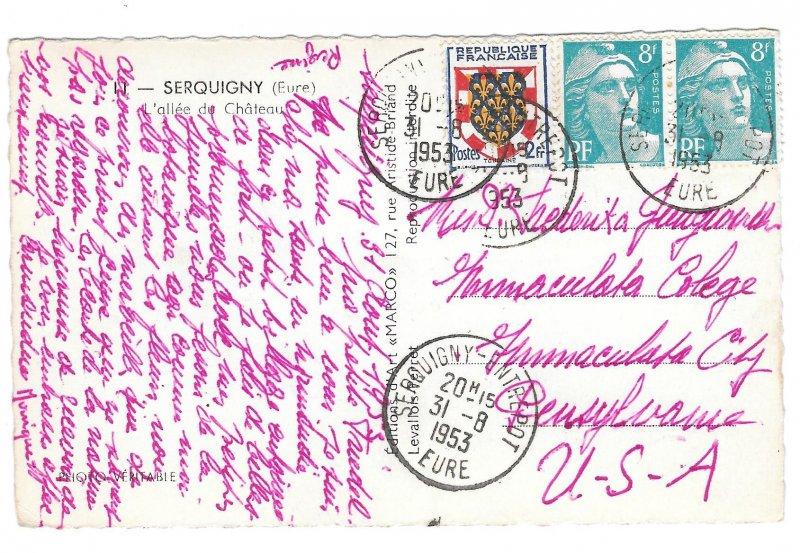RPPC France Serquigny Allee de Chateau Eure Normandy MARCO RP 1953 Postcard