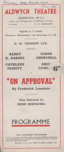 On Approval Aldwych Cathleen Nesbitt Diana Churchill Comedy London Theatre Pr...