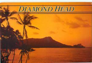 Diamond Head Dusk Palm Trees Waikiki Beach Hawaii Honolulu  Postcard  # 6957