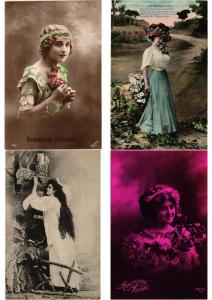 GLAMOUR LADIES FEMMES Lot of 600 CPA Vintage Real Photo Postcards (PART III.)