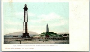 Cape Henry, Virginia Postcard Old and New Light-Houses Beach View Detroit Pub.