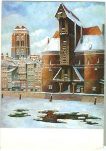 Germany, Originalgemalde Danzig, Krantor mit St. Marien von Paul Kreisel