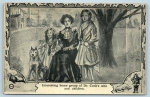 Postcard North Pole Explorer Frederick Cook's Wife Children Family Dog 1909 M2