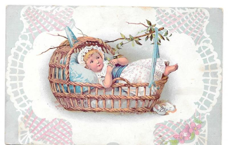 Baby Child Little Girl in Swinging Wicker Basket Litho