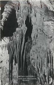 RPPC of the Brown Waterfall, Lewis and Clark Caverns Montana MT