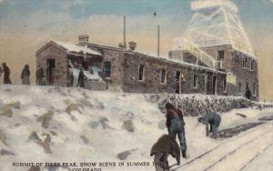 COLORADO, 1900-1910's; Summit Of Pikes Peak, Snow Scene In Summer Time