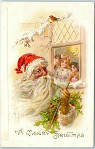 Vintage Christmas Postcard Children Looking at SANTA CLAUS Through Window c1910s