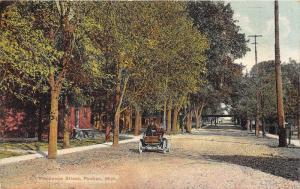 Pontiac Michigan~Residential Street Scene~Man in Vintage Car~1909 Postcard