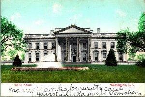 Vtg Postcard c 1908 White House Washington DC w Glitter - washington News Co