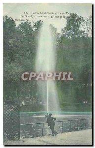 Old Postcard Parc de St Cloud Large water Grand Jet