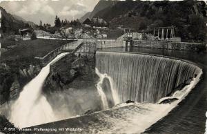 Wassen Pfaffensprung mit Windgalla Switzerland waterfall RPPC Postcard