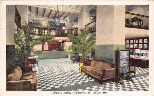 St Louis MO~Hotel Missouri Lobby~Check In Desk~Cigar Counter~1920s Postcard