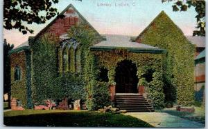 Lisbon, Ohio Postcard Ivy-Covered Library Building, Front View c1910s UNUSED