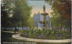 Ohio Lorain Fountain In Erie Park 1916 Curteich