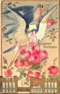A HAPPY BIRTHDAY~MULTI LAYERED-SWINGING GATE AIR BRUSHED POSTCARD