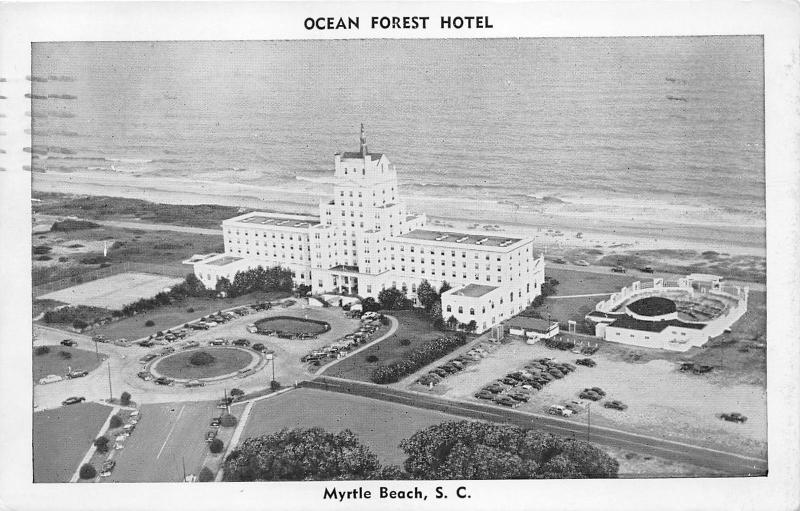 Myrtle Beach South Carolina Ocean Forest Hotel Aerial View Parked Cars 1954 Pc