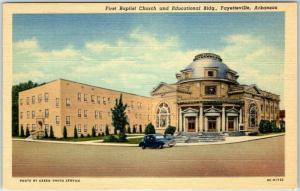 Fayetteville, Arkansas Postcard First Baptist Church & Educational Bldg Linen