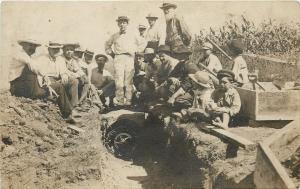Men & Boys in Irrigation Trench~Wheel Handle~Corn Field~Real Photo Postcard 1909