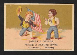 VICTORIAN TRADE CARD Stiles Laces Patriotic Flag