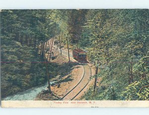 Divided-back TROLLEY TRAIN ON THE TRACK Hartwick - Near Cooperstown NY AD7496