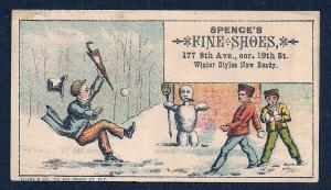 VICTORIAN TRADE CARD Spence's Fine Shoes