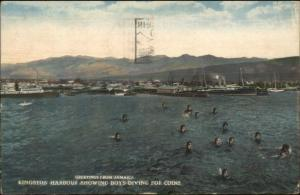 Kingston Jamaica Boys Diving For Coins Used 1927 Postcard Cover