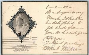 Vintage 1901 QUEEN VICTORIA MEMORIAL Postcard Sent 10 Days After Her Death!